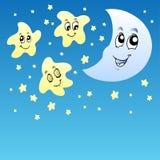 De hemel van de nacht met leuke sterren en Maan Stock Afbeelding