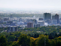 De Hemel van de Stad van Smoggy Stock Foto's