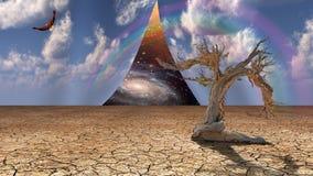 De hemel van de woestijn pelt open openbarend ander land vector illustratie
