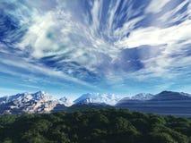 De hemel van het onweer boven sneeuwbovenkanten van m royalty-vrije stock foto