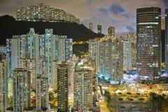 De Hemel van Hongkong bij Nacht Stock Afbeelding