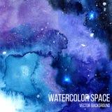 De hemelachtergrond van de waterverfnacht met gloeiende sterren Ruimtetextuur met verfslagen en swashes Vector illustratie Royalty-vrije Stock Afbeelding
