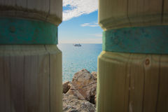 De hemelrots van de Huntington Beach oceaanboot Stock Foto's
