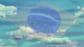 De hemelvlag van Brazilië stock video