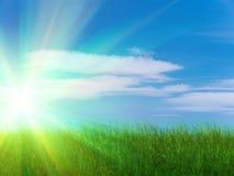 De hemelwolken van de zon Stock Foto