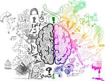 De hemisferen schetsmatige krabbels van hersenen Royalty-vrije Stock Afbeeldingen