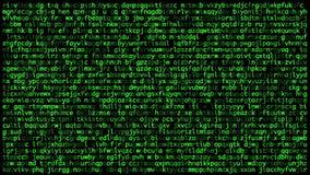 De hemliga koderna på skärmen som bläddrar upp begrepp av cybers?kerhet stock illustrationer