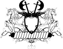 De heraldische kam shield3 van het eenhoornwapenschild Royalty-vrije Stock Foto