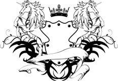 De heraldische kam shield6 van het eenhoornwapenschild Stock Afbeelding