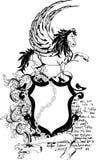 De heraldische kam shield5 van het pegasuswapenschild Stock Foto