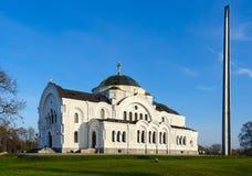 De herdenkings complexe vesting-Held van Brest St Nicholas Garrison Temple en bajonet-obelisk Stock Foto's