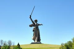 De Herdenkingsobelisk van de Wereldoorlog II op Mamayev Kurgan Stock Afbeeldingen