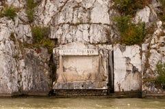 De herdenkingsplaque van Traiana van Tabula Stock Afbeeldingen