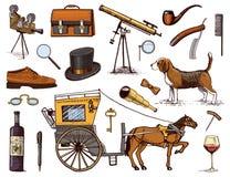 De herentoebehoren overhandigen getrokken reeks Victoriaanse Era verrekijkers en camera, aktentas, cufflinks, zak, ring royalty-vrije illustratie