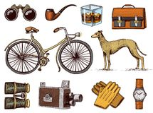 De herentoebehoren overhandigen getrokken reeks Victoriaanse Era Verrekijkers en camera, fiets of fiets, aktentas, polshorloge vector illustratie
