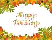 De herfst achtergrondvector met Gelukkige Verjaardagsteksten stijl van gebladerte stock illustratie
