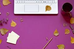De herfst bedrijfs conceptuele werkruimtevlakte lag Royalty-vrije Stock Foto's