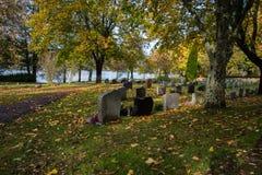 De herfst in de begraafplaats van Filipstad Zweden Royalty-vrije Stock Afbeeldingen