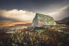 De herfst in de bergen Sylan in Noorwegen, schommelt beweging veroorzakend royalty-vrije stock afbeelding