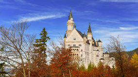 De herfst bij Neuschwanstein-kasteel Stock Fotografie