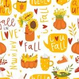 De herfst bloemen naadloos patroon in krabbelstijl stock illustratie
