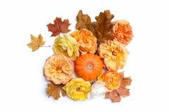 De herfst bloemensamenstelling die van kleurrijke esdoorn, eiken bladeren, oranje pompoen en langzaam verdwijnende rozen wordt ge Stock Afbeelding