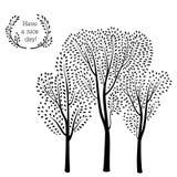 De herfst bosachtergrond Van dalingsbladeren en bomen kaart met bloemen Stock Foto's