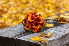 De herfst, bruids boeket, de herfstboeket, huwelijk, huwelijk in Royalty-vrije Stock Foto
