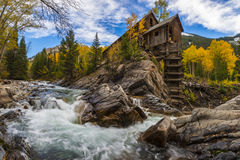 De herfst in Crystal Mill Colorado Landscape Stock Afbeelding