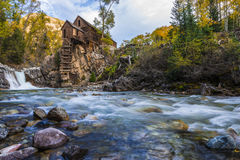 De herfst in Crystal Mill Colorado Landscape Stock Foto
