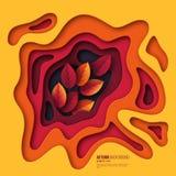 De herfst 3d document besnoeiingsachtergrond Abstracte vormen met bladeren in gele, oranje, purpere kleuren Ontwerp voor decorati Stock Fotografie