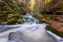 De herfst, dalings wilde rivier Doubrava, schilderachtig landschap stock foto