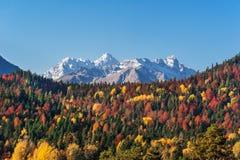 De herfst in de bergen van karachay-Cherkessia Royalty-vrije Stock Afbeeldingen