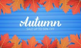 De herfst De verkoopbanner met esdoorn verlaat kader en het in de Herfstborstel van letters voorzien De seizoengebonden kaart van vector illustratie