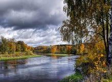 De herfst dichtbij Neris-rivier Stock Foto's