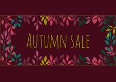 De herfst donkere achtergrond met bladeren Royalty-vrije Stock Foto