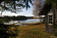 De herfst door het bosmeer. Stock Foto