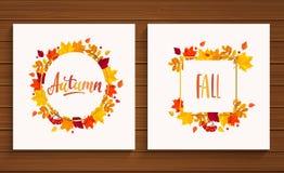 De herfst en Dalingskaarten Stock Afbeeldingen