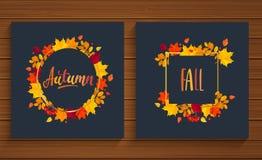 De herfst en Dalingskaarten in kader van de herfstbladeren Stock Foto