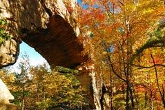 De herfst en een Natuurlijke Brug stock afbeeldingen