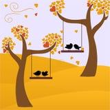 De herfst en vogels Royalty-vrije Stock Afbeeldingen
