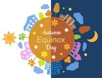 De herfst'equinox' dag en nacht Royalty-vrije Stock Fotografie