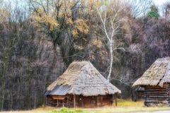 De herfst in etnisch museum Pirogovo stock afbeelding