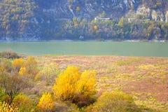 De herfst gekleurd oever van het meerlandschap stock foto