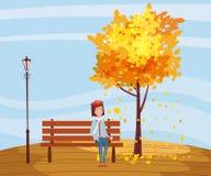 De herfst, gelukkige meisjeszitting op een bank met een kop van koffie, onder een boom met dalende bladeren in een park, vector royalty-vrije illustratie