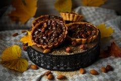 De herfst heerlijke cakes met noten op plaat Stock Fotografie