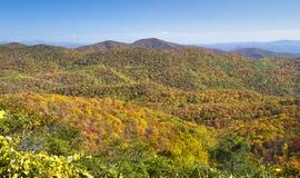 De herfst, het Blauwe Brede rijweg met mooi aangelegd landschap van de Rand Royalty-vrije Stock Foto