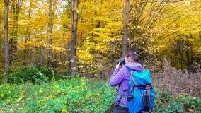 De herfst in het bosa-meisje fotografeert een mooi bos stock afbeelding