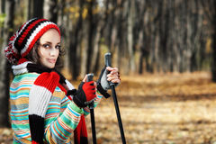In de herfst het lopen Royalty-vrije Stock Fotografie