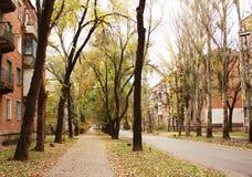 De herfst in het oude stadsdistrict Stock Fotografie